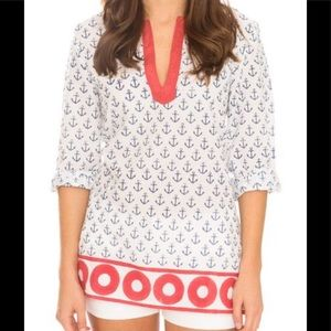 Pomegranate Red White Blue Summer Nautical Top